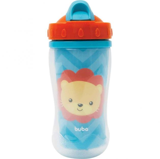 Copo Parede Dupla com Canudo Animal Fun Buba - Leão 320ML